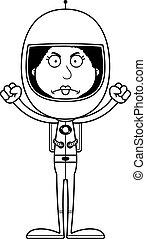 Cartoon Angry Astronaut Woman - A cartoon astronaut woman...