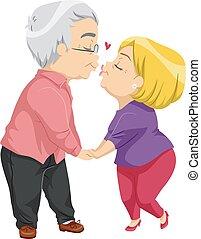 Senior Couple Kiss