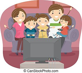 Stickman Family Play Video Games