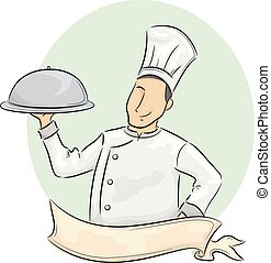 Man Chef Ribbon Carrying Food Dome