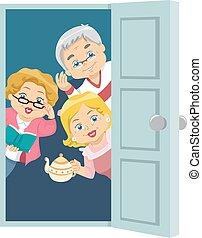 Seniors House Invite - Illustration of Seniors Welcoming...