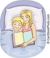 Mom Kid Boy Bed Sleep Book