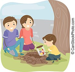 Stickman Family Time Capsule - Stickman Illustration of a...