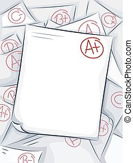 Test Paper Grades - Background Illustration of a Pile of...