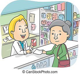 Senior Woman Pharmacy