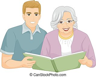 Senior Woman Caregiver Grandson Book - Illustration of a...