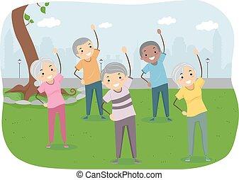 Stickman Seniors Exercise Public