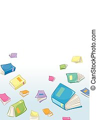 Book Clutter - Background Illustration of Open Books Lying...