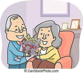 Senior Couple Flowers - Illustration of an Elderly Man...