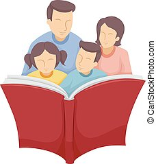 Family Read Book - Illustration of a Family Reading a Large...
