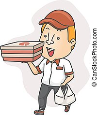 Pizza Delivery Man - Illustration of a Delivery Man Carrying...