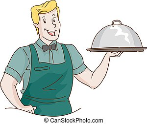 Man Retro Waiter Carrying Food Dome