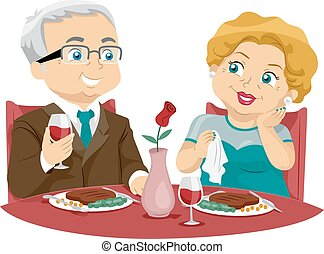 Senior Couple Fine Dining - Illustration of an Elderly...
