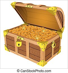 treasure chest - pirate a treasure chest of gold coins on a...