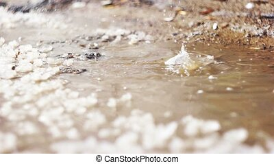 Spring puddle with pices of ice and dropping water