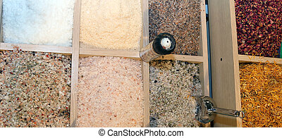 Himalayan salt on sale in spice shop and food - large grains...