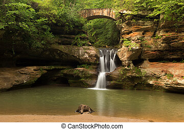 Upper Falls at Old Mans Cave, Hocking Hills State Park, Ohio...