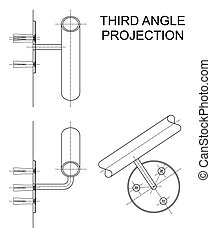 Third Angle Projection - Example of third angle orthographic...
