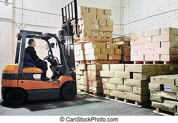 Forklift loader in warehouse