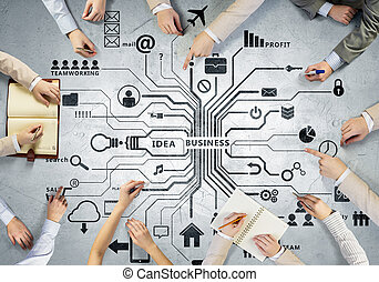 Creative work of business team - Top view of people hands...