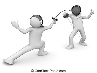 Two fencers - 3d isolated on white background characters...