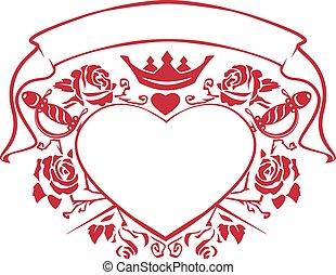 Emblem of love shape heart, dagger