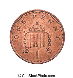 British One Penny Coin Reverse Showing a Crowned Portcullis...