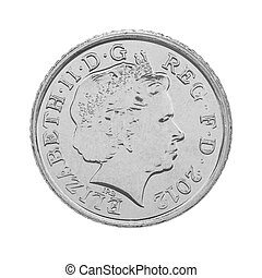 British Five Pence Coin Obverse Showing Queen Elizabeth the...