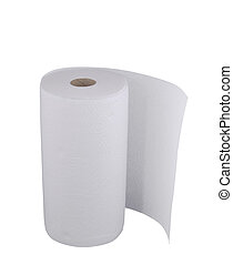 Paper towel roll on white
