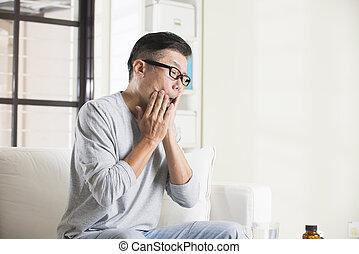 asiático, 3º edad, macho, en, boca, dolor,
