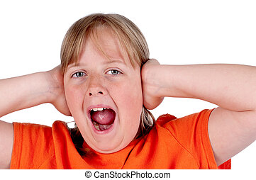 A horizontal image of a young girl screaming and covering her ears on white