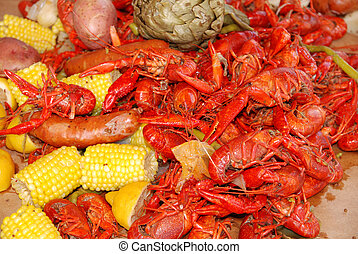 Getting Crayfish ready to boil at a cookout with selective...