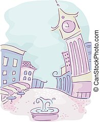 Urban Doodle Design - Doodle Illustration of a Colorful City...