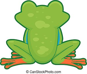 Tree Frog Back - Cutesy Illustration Featuring the Back of a...
