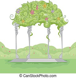 Flowers Arbor - Illustration of a Garden Arbor with Colorful...