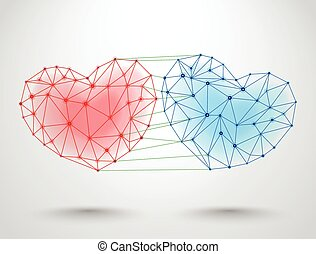 Couple of connected hearts