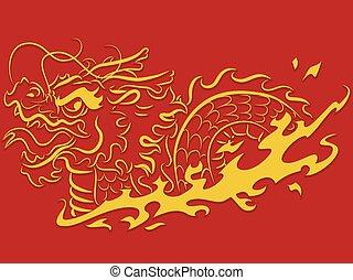 Stencil Dragon Gold