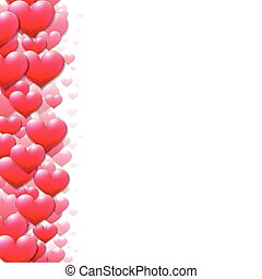 Valentines Day card with scattered purple hearts on the edge