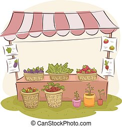Stand Produce - Illustration of a Market Stall Selling Fresh...