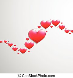 Valentines Day card with wave of hearts