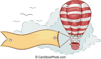 Air Balloon Banner - Illustration of a Blank Banner Trailing...