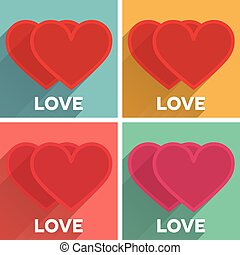 Set of flat typographic Valentines Day labels with long shadow hearts couples