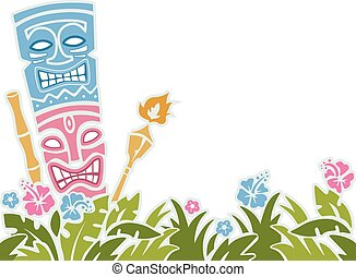 Tiki Stencil - Stencil Illustration of a Tiki Statue...