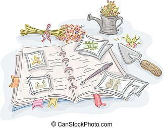 Garden Journal - Illustration of a Journal with Notes on...
