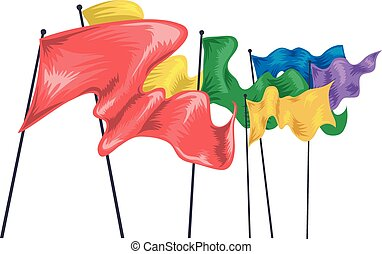 Flag Colors Wave - Illustration of Colorful Flags Fluttering...