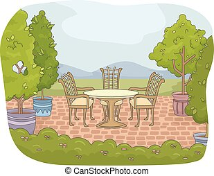 Garden Backyard Patio - Illustration of a Backyard Patio...