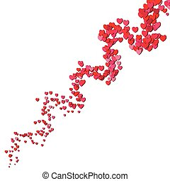 Valentines Day swirl of scattered hearts