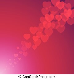 Valentines Day explosion of bokeh hearts