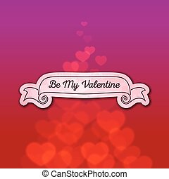 Valentines Day ribbon with scattered bokeh hearts -...