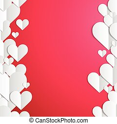Valentines Day frame with lines of paper hearts